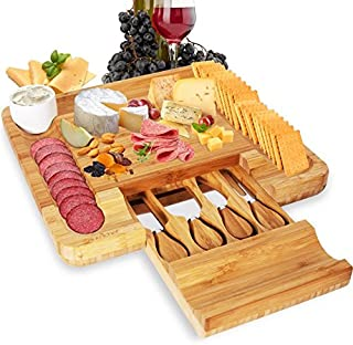 NutriChef PKCZBD10 Bamboo Charcuterie Board Wooden Plate Tray and Knife Set-Cheese, Cracker, Meat Cheeseboard Server Platter, 4 Stainless Steel Knives, Black/Chrome