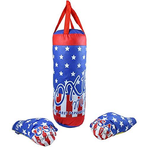 Smart Planet Boxsack und Handschuhe für Kinder im USA Design mit Band zum Aufhängen ca. 40 cm groß Boxhandschuhe in Kindergröße