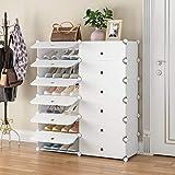 YOZO Portable Shoe Rack Storage 24 - Pair Shoe Organizer Expandable Shoe Rack for Closets entryway freestanding Shoe Shelf, 12 Grids White with Door