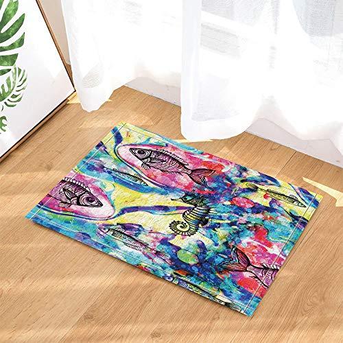 ZHOU Dekorative farbige Fische und Seahorse Teppiche rutschfeste Boden Kind Eingänge Outdoor Indoor Haustür Matte Badzubehör 80x40cm der Aquarellfische