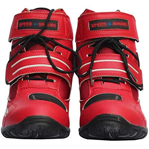 Botas Moto Hombre, MJH-01 Botas Moto Cuero Impermeables para Hombre Turismo Deportes Racing Armored Rider Zapatos, Color: Negro | Blanco | Rojo; Tamaño: UE 38-45