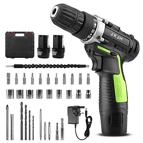 JXJH Cordless Drill Driver Kit, 12V Electric Screw Driver, 38PCS Variable Speed Multifunctional Rechargeable Powerful Screwdrivers Set with 1500mAh Li-ion Dual Battery for Home DIY