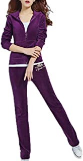 Janisramone Femmes Dames Nouveau Velours Velour Encapuchonn/é Jogging Zip Up Top Bas 2 Pcs Ensemble Loungewear Surv/êtement Jogset