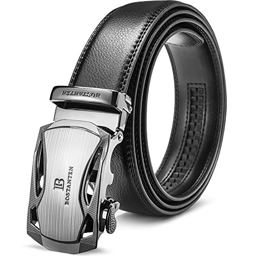 BOSTANTEN Men's Leather Ratchet Dress Belt with Automatic Sliding Buckle Black