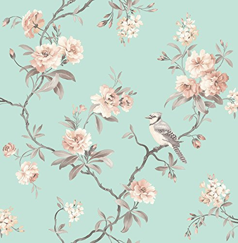 Fine Decor 2900-40768 Chinoiserie Floral Wallpaper, Seafoam