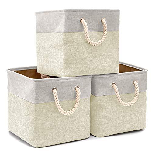 EZOWare Cajas de Almacenaje, 3 Pcs Cesta Organizador Cubos de Tela Plegable con Manijas para Hogar, Oficina, Estanterías, Armarios, Ropa, Juguetes y mas - 33 x 33 x 33 cm (Beige/Gris Claro)