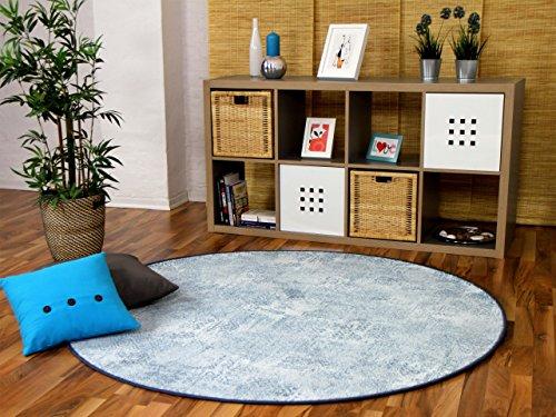 Mystic Designer Soft-Velours Teppich Vintage Eisblau Rund in 7 Größen