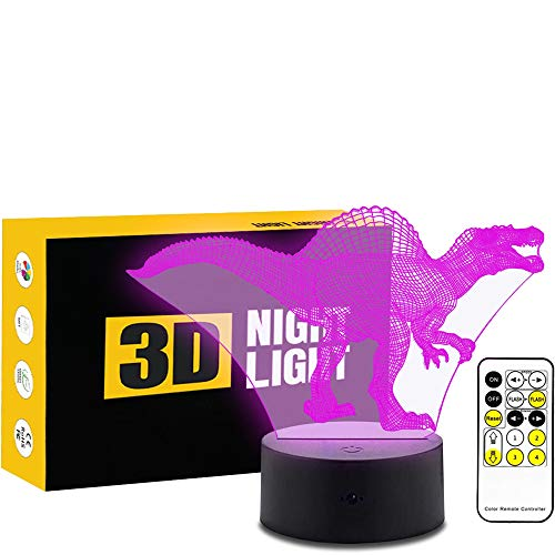 Leisurely Lazy Animal Spinosaurus Dinosaur 3D Optical Illusion Lamp 7 Colors Change and 15 Keys Remote Control LED Night Light Toys for Children Kids