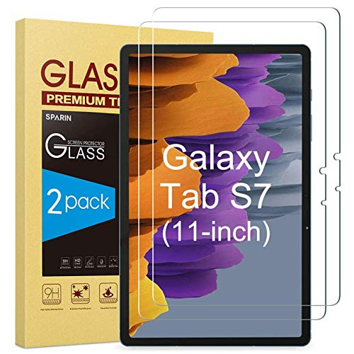 SPARIN [2-Pack] Galaxy Tab S7 Screen Protector, 9H Hardness Tempered Glass for Samsung Galaxy Tab S7 with S Pen Compatible, Bubbles-Free