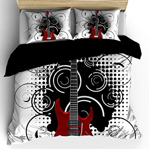 Juego de funda nórdica para guitarra, estilo dibujado a mano, guitarra eléctrica...