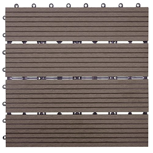 Mendler WPC Bodenfliese Rhone, Holzoptik Balkon/Terrasse, 11x je 30x30cm = 1qm ~ Basis, Coffee linear