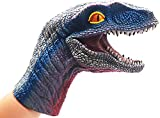 SUIYUEOUR Dinosaur Hand Puppet ,Velociraptor, Soft Rubber Dinosaur Toys for Kids, Animal Puppets Suitable for Role Play Storytelling Teaching, Child Birthday Present for 3 Years Old, Set 1 Pair…