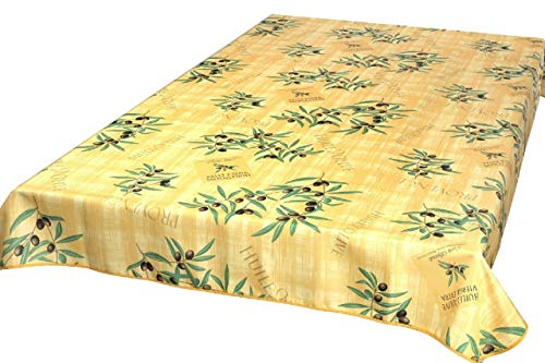 Provencetischdecke Huile d'Olive 200x148 cm, Gelb, Jaune, Outdoordecke Enduit Lotuseffekt
