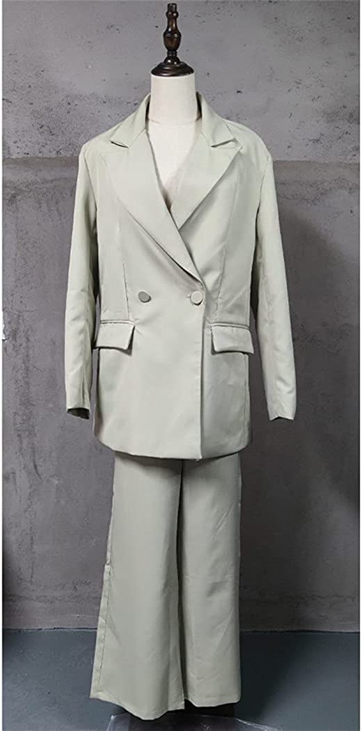 2 Piece Set Women Blazer and Trousers, Elegant High Waist Chic Lady Outfits Blazer and Wide-Leg Pants