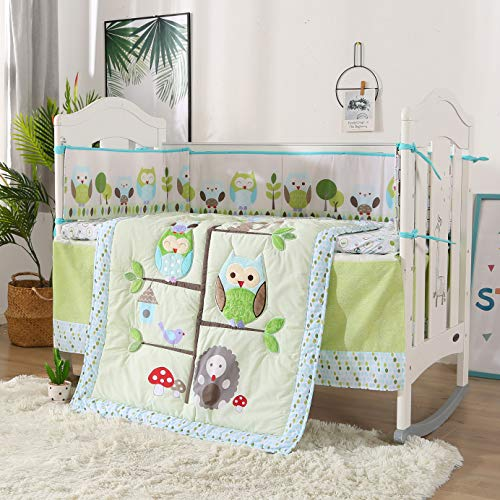 Wowelife Owl Crib Bedding Sets Tree Theme 7-Piece Baby Bedding Set, Cyan/Light Blue