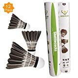 ZHENAN 12-Pack Advanced Black Goose Feather Badminton Shuttlecock with Great Stability and Durability,Shuttlecocks Indoor Outdoor Sports Hight Speed Training Badminton Birdies Balls