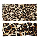 DreamLily Women's Elastic Flower Printed Turban Headwrap Knotted Soft Twisted Headband (Leopard(2 Count))
