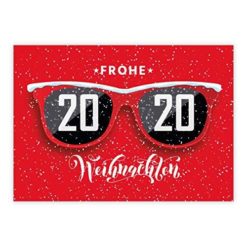 5 stuks grappige rode kerstkaart met zonnebril in de sneeuw: Vrolijk Kerstmis • mooie wenskaartenset met enveloppen voor Kerstmis, Nieuwjaar voor familie, vrienden, collega's