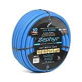 """Zephyr Next-gen Garden Hose (1/2"""" x 50ft, Ultra-Light Flexible Rubber, Brass Fittings), Blue"""