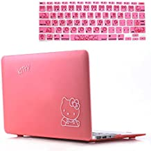 Rinbers 2in1 Bundle Soft-Touch Plastic PINK Kitty Rubberized Hard Shell Case Print Frosted for MacBook Air 13 Inch A1369 A1466