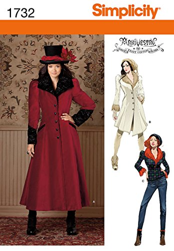 Simplicity 1732.H5 - Patrón con Instrucciones para Coser Chaquetas y Chaquetones para Disfraces de Mujer (Tallas de XS a L)