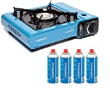CAMPINGAZ Camp Bistro 2 Camping Stove with CP250 Portable Gas Cartridge - Pack of 4 (Blue, 33 x 28 x...