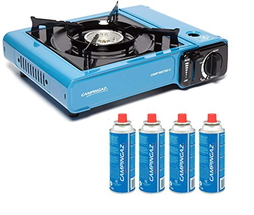 CAMPINGAZ Camp Bistro 2 Camping Stove with CP250 Portable Gas Cartridge (Blue) -Pack of 4
