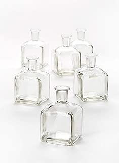 "Serene Spaces Living 6 Glass Bottle Bud Vases, Vintage Square Bottle Style – Elegant Vases, 4 3/8"" Tall by 2 5/8"" Square"