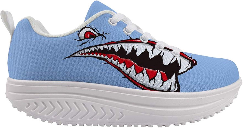 Owaheson Swing Platform Toning Fitness Casual Walking shoes Wedge Sneaker Women Fierce Red Eye Shark Bloody Mouth