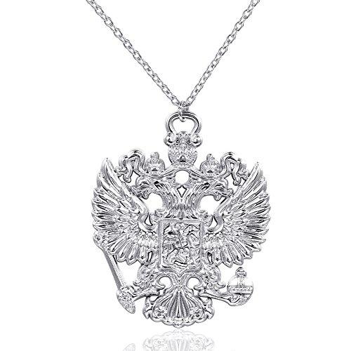 Fengteng Russisches Doppelte Adler Anhänger Emblem von Russland Halskette (Silber)