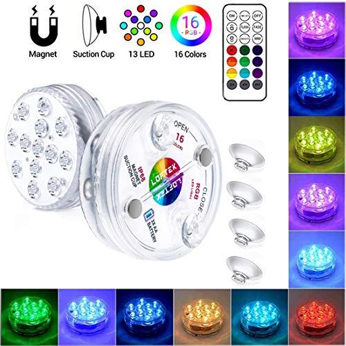 LLC-POWER Lumière LED submersible RVB avec télécommande sans fil, IP68 entièrement étanche, couleurs changeantes, pour aquarium, jacuzzi, piscine, jardin, fête de mariage, 1 lot