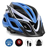 MOKFIRE Adult Bike Helmet with Rechargeable USB Light, Bicycle Helmet CPSC Certified for Men Women, Road Cycling & Mountain Biking Helmets with Removable Visor and Lining, 22.05-24.41 Inches (Blue)