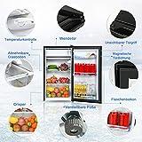 COSTWAY Kühlschrank mit Gefrierfach Standkühlschrank Gefrierschrank Kühl-Gefrier-Kombination / 91L / Schwarz - 4