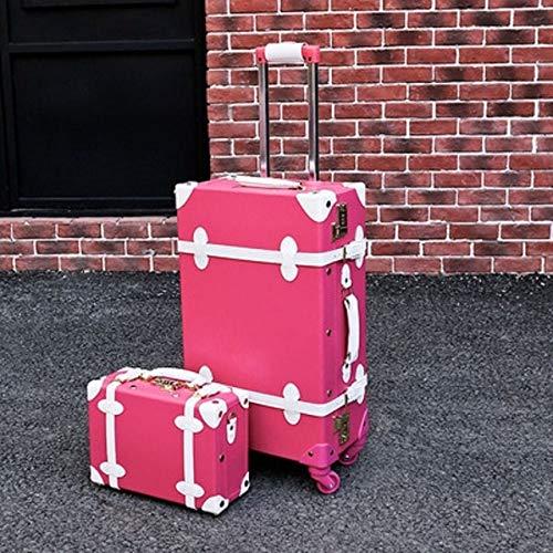 Mdsfe Maleta Snugcozy Princess Serie Travel Boardable Maleta 20/22/24 Pulgadas tamaño Bolsos y Spinner de Equipaje rodante - Conjunto Rojo Rosa, 24'