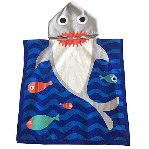 APIKA Toalla de Playa con Capucha para niños Toalla de baño de Microfibra para baño Albornoz con Capucha de Dibujos Animados para niños Toalla de Poncho Linda(Sirena)
