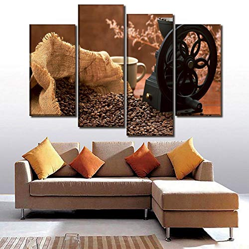 ANTAIBM® 4 Visuelle Fotos der Inneneinrichtung Holzrahmen - verschiedene Größen - verschiedene Stile4 Panel Kaffeebohnen und Kaffeemaschine Poster Leinwanddruck Gemälde für moderne Home Wall Art dekor