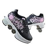 Chaussures multifonctions déformées, chaussures Cool Parkour pour adultes/enfants, patins à roulettes rétractables, meilleur choix pour sports de plein air, patinage, voyage (poudre noire, 38)