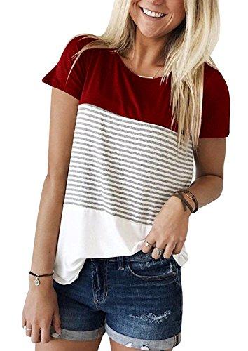 Yidarton Damen Sommer T-Shirt Casual Streifen Patchwork Kurzarm Oberteil Tops Bluse Shirt (Medium, Wein)