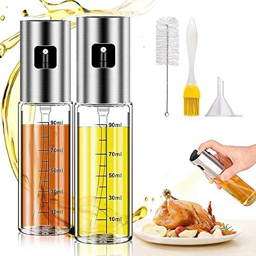 Oil Sprayer for Cooking, 2Pack Olive Oil Sprayer,Spray Bottle Olive Oil Sprayer Mister for Cooking,Transparent Vinegar Oil Sprayer Dispenser 100ml for BBQ, Salad, Baking, Roasting, Grilling,Air Fryer