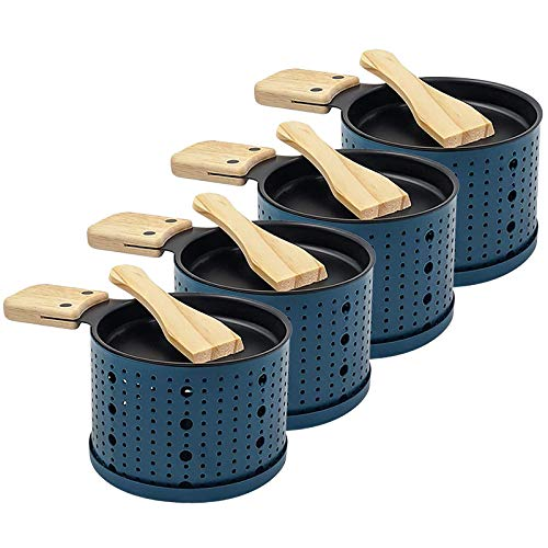 Raclette à la Bougie, Poêlons Bougie Four Lent Fromage Pain Grill, Une raclette à la Bougie, Fournitures de Cuisine de Pique-Nique, Faite Fondre Votre Fromage Rapidement (4 Pack, Bleu)