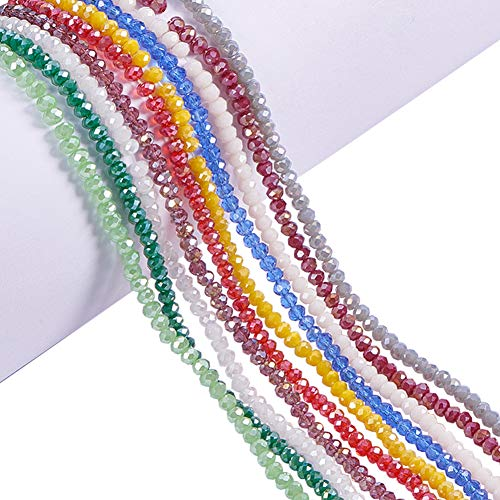 PandaHall 1400pz 10 Colori AB Placcato Sfaccettato Abaco Perline di Vetro placca per Braccialetti collane bigiotteria, 3.5-4x2.5 3mm, Foro: 0,5 mm, 10 Fili
