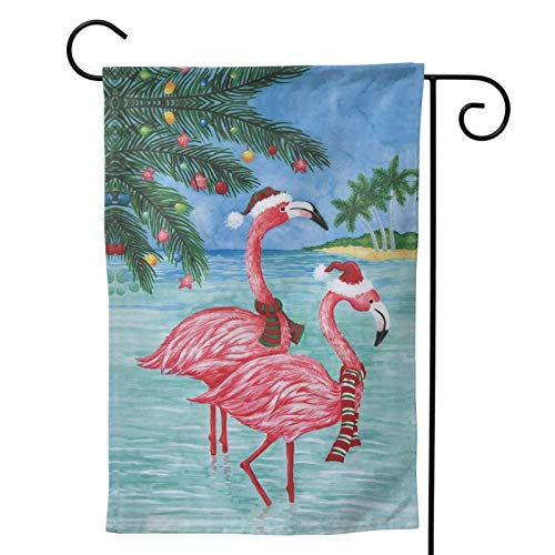 MINIOZE Flamingo Christmas Beach Art Pink Themed Welcome Party Outdoor Outside Decorations Ornament Picks Home House Garden Yard Decor Double Sided 12.5 X 18 Small Flag 28 X 40 Jumbo Large