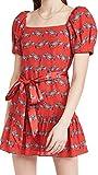 Alice + Olivia Women's Collette Puff Sleeve Mini Dress, Zebra Stride Bright Poppy, Red, Print, 6
