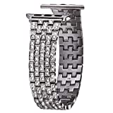 VIQIV Bling Bands for Compatible with Apple Watch Band 38mm 40mm 42mm 44mm iWatch Series 5/4/3/2/1, Dressy Diamond Bracelet Rhinestone Metal Jewelry Wristband Strap for Women Silver