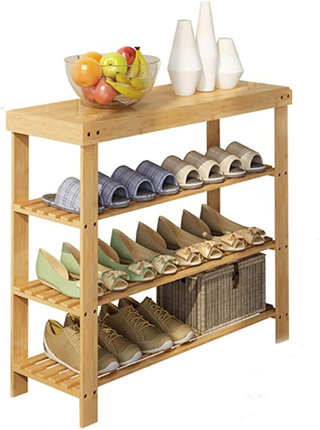 shoes Bench Organizing Rack Bamboo shoes Shelf Three-Layer dust-Proof Multi-Purpose shoes Change shoes Bench Economy Home Dormitory Shelves (Size   60  28  70cm)