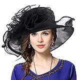 VECRY Donna Organza Church Derby Fascinator Cappello da Sposa Cappellini (019-Nero)