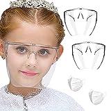 Careta con Lentes Para Niños- Gafas de protección facial - Gafas de protección antiniebla - Pantalla facial reutilizable con gafas - Visibilidad mejorada y diseño cómodo - Protege contra derrames, gotas, saliva, escombros, polvo - Paquete de 2 caretas