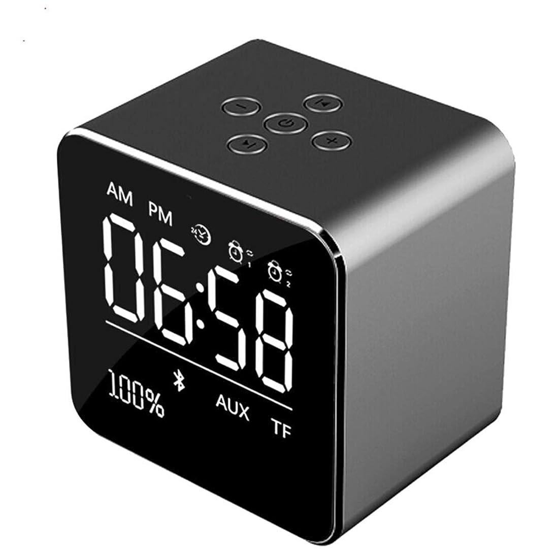 仕事に行くフレット艦隊目覚まし時計 LED-ウェイクアップライト目覚まし時計、シンプルな操作スピーカーの目覚まし時計、大きな夜の光アラームスヌーズ非刻々とフルレンジの明るさ調光器,Black