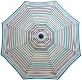 Bayside21 Replacement Umbrella Canopy for 8 Ribs 9 ft Outdoor Patio Umbrella Vented Replacement Umbrella Canopy 9ft Market Umbrella Replacement Canopy 8 Ribs Non Faded (Blue Grey Stripe)