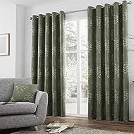 "Curtina - Elmwood - Jacquard Pair of Eyelet Curtains - 66"" Width x 54"" Drop (168 x 137cm) in Khaki G..."